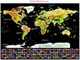 #6: Dakos Scratch Off Travel World Map Wall Poster with Country Flags. Great Gift for Travelers. Large Size 32.5 x 23.5 inches.