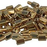 Yibuy 50 Piezas 6 mm + 6 mm Latón Hex Standoff Tornillo Pilares M3 PC Carcasa Placa Base Risers