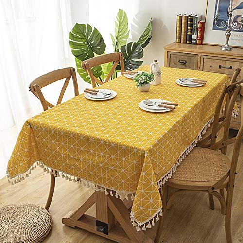 Tischdecke Baumwolle Und Leinen Einfache Gartengitter Quaste Geometrie Rechteckigen Tisch Couchtisch Tischdecke Gelb Schachbrett + Quaste 120X160Cm