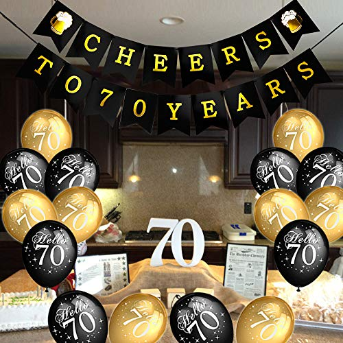 Awesome Howaf 70Th Birthday Party Decorations Black And Gold Latex Download Free Architecture Designs Rallybritishbridgeorg