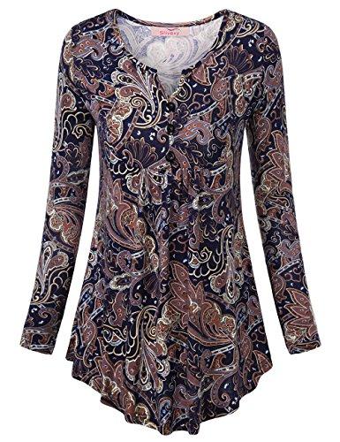 Slivexy Femme T-Shirt Tunique Tops a Manches Longues Imprime Fleur en Col V Bleu-Marron