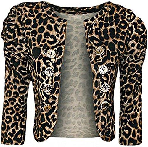 Fashion Charming-Frauen-Leopard-Tier Tiger-Druck-Taste gerafften Ärmeln Cardigan Bolero Top (Geraffte Blazer Ärmel)