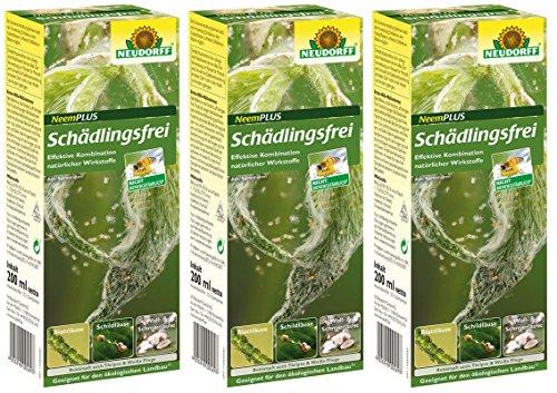 GARDOPIA Sparpaket: 3 x 200 ml Neudorff Neem Plus Schädlingsfrei gegen Läuse Thripsen Milben + Gardopia Zeckenzange mit Lupe