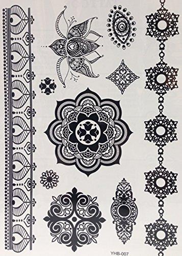 Une fois Tattoo Noir Faux tatouage tattoo Mandala Bijoux Tattoo Orient Tattoo yh07 pour le corps