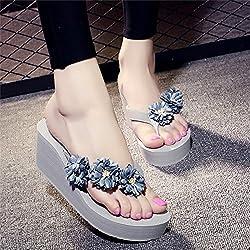 Hausschuhe Einfache Damen High Heels Flip Flops,Damen Sommer Sandalen,Sandaletten,Pumps,Sandalen,Badeschuhe,36,Grau Blau