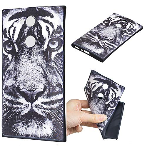Ooboom Hülle für Sony Xperia XA2, TPU Silikon Prägen Weich Handy Tasche Schützende Case Cover Bumper Ultra Dünn Slim Flexibel - Weiß Tiger