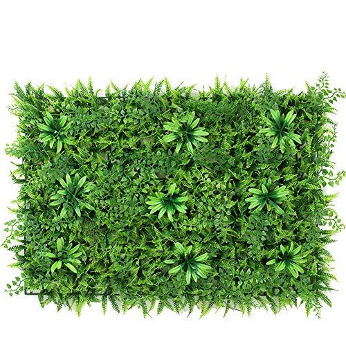 Maiaroj 2 Künstliche Hedge Faux Greenery Privatsphäre Bildschirme Green Hedge Hintergrund Kunststoff Garten Gefälschte Zaun Matte Panel Trellis Wanddekoration (Trellis Garten Panel)