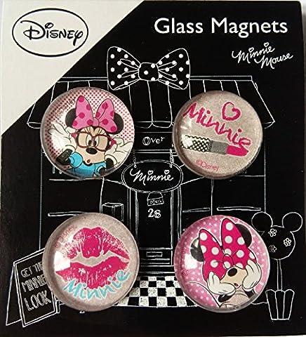 Set von 4Glas Minnie Mouse Magnete–Kühlschrank, Home, Sammlerstück, Deko