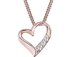DIAMORE Collier pour Dames en 925 Argent Diamant (0.06 ct.) Amour Coeur - 45cm