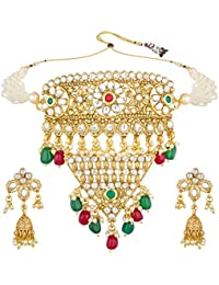 Aadita Bridal Choker Royal Padmavati Traditional Kundan And Pearl Haram Necklace Set For Women And Girls