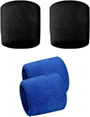 Verceys Black And Blue Sports All Weather And Washable Stuff Wrist Band - Pack of 4