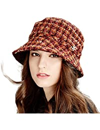 eac0cb33b93 Kenmont Winter Lady Women Short Brim Bucket Hat Vacation Cap Tartan Design  Cap