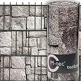 Sichtschutzstreifen mit Motiv/M-tec Print ® / PVC/Granitmauer ✔ für 3 Reihen im Zaunfeld ✔ inkl. 6 Klemmschienen ✔ für Stabmattenzaun✔ - SIE KAUFEN Hier DIREKT BEIM Hersteller -