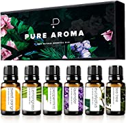 Essential Oils by PURE AROMA 100% Pure Therapeutic Grade Oils kit- Top 6 Aromatherapy Oils Gift Set-6 Pack, 10