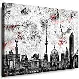 Wandbild 120 x 80 cm Stadt Wandbild Berlin Bild auf Leinwand mit Rahmen xxl Leinwandbild Skyline Kunstdruck Bär Silhouette Abstrakt o101-6