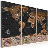murando - Weltkarte Pinnwand 120x80 cm - Bilder mit Kork Rückwand - Leinwandbilder - Korktafel - Fertig Aufgespannt - Wandbilder XXL - Kunstdrucke - Welt Karte Kontinent Landkarte k-A-0205-p-e