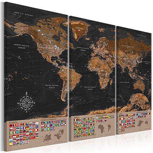 murando - Weltkarte Pinnwand 135x90 cm - Bilder mit Kork Rückwand - Leinwandbilder - Korktafel - Fertig Aufgespannt - Wandbilder XXL - Kunstdrucke - Welt Karte Kontinent Landkarte k-A-0205-p-e 135x90 cm