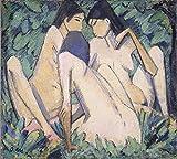 Das Museum Outlet–Otto Mueller–Drei Madchen in einem Holz–ca1920, gespannte Leinwand Galerie verpackt. 29,7x 41,9cm