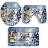 Sockel Teppich + Deckel WC-Deckel + Bad,Moonuy staub widerstand rutschfestigkeit 3 STÜCKE Weihnachten Bad Rutschfeste Sockel Teppich + Deckel Wc-abdeckung + Badematte Set (F)