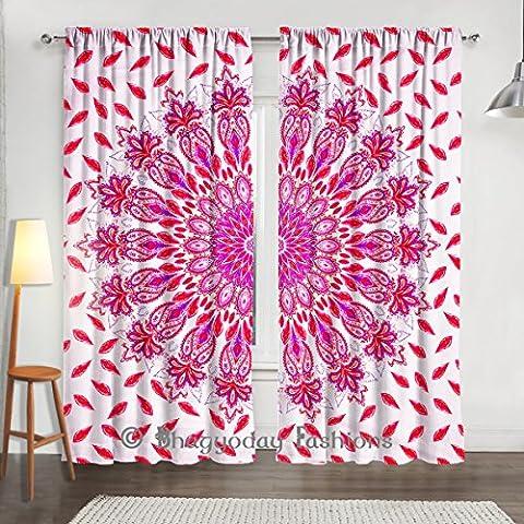Plumes Paon Mandala indien Tapisserie, rideaux, traitement de fenêtre Ensemble de panneaux, DE L'Espace Mur Rideau Décor