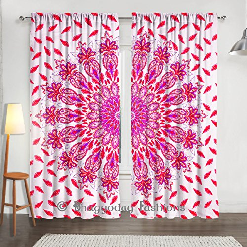 "Plumas de pavo real Mandala tapiz indio cortinas, cortinas, paneles de ventana tratamiento Set, habitación cortina de pared Decor 84X 80"""