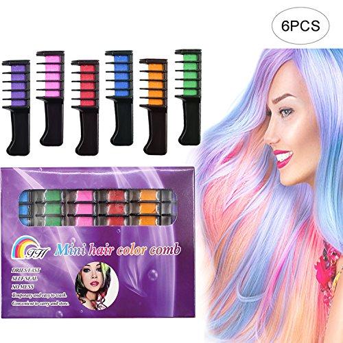 Haar Kreide–jamhoodirect ungiftig Metallic Glitter Hair Farbe, Die mit einem Set Einweg Dye Haar Werkzeug, Farbe Essentials Set–kein Schmutz–funktioniert auf allen Haar Farben (Roten Kostüm Die Haare Färben)
