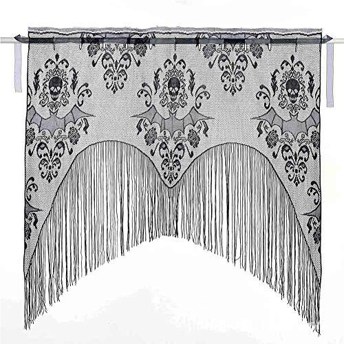 elegantstunning Halloween Fenster Vorhang Querbehang Kamin Tuch mit Quaste Strickpullover Totenkopf Fledermaus Fransen Halb Blickdicht 38* 40cm