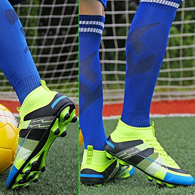 Gugutogo High Ankle Fußball Schuhe Verschleißfeste Sportschuhe für Fußball Trainer Farbe: Fluoreszierend Grün