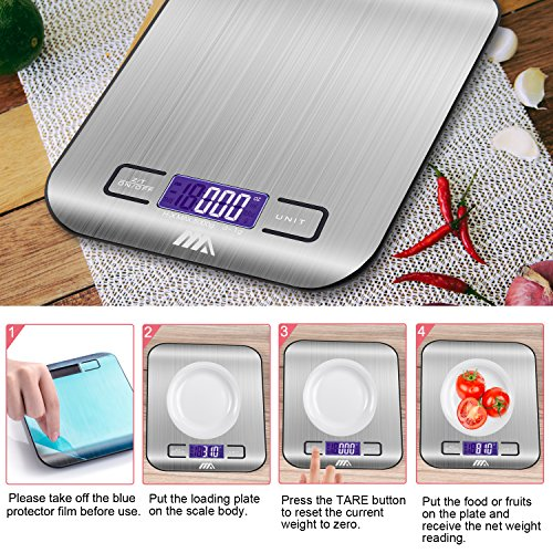 ADORIC Bilancia Digitale da Cucina, Bilancia Digitale Elettronica da Cucina con Alimenti 5kg/11lb e Acciaio Inossidabile(Argento) - 4
