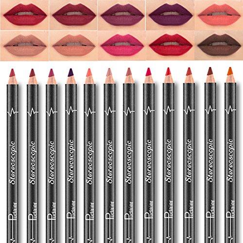 Pudaier 12 Farbe Wasserdicht Lipliner Lip Liner Pencil Set Nicht Verblassen Lippenstift Pencil Matte...