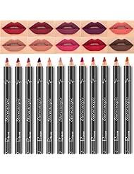 Pudaier 12 PCS/Lot Crayon à Lèvres Crayon Outils étanche Lip Liner Maquillage de Longue Durée Multicolore Rouge à Lèvres Brillant à Lèvres Maquillage