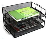 #4: Callas Metal Mesh 3 Tier Stackable Letter/Paper Tray Desk Organizer, Black, CA005