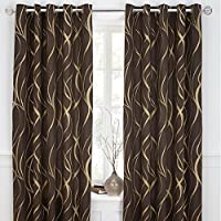 "Metallic-style Swirl Chocolate Brown Gold Lined 90"" X 90"" - 229cm X 229cm Ring Top Curtains by Curtains"