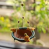 ExclusiveLane Terracotta Handpainted Bird Feeder - Backyard Bird Feeder Hanging for Balcony Décor Outdoor Garden Decoration