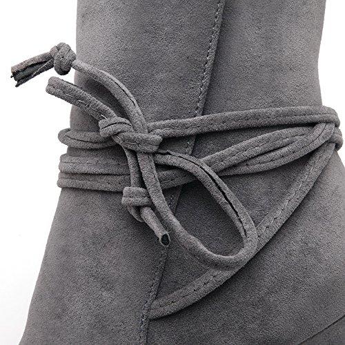 VogueZone009 Donna Scarpe A Punta Tacco Alto Bassa Altezza Puro Stivali con Nodo Grigio