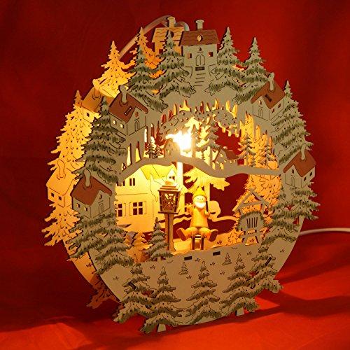 """Fensterbild beleuchtet \""""Weihnachtsmann auf Schlitten\"""" Original Vogtland Souvenir"""