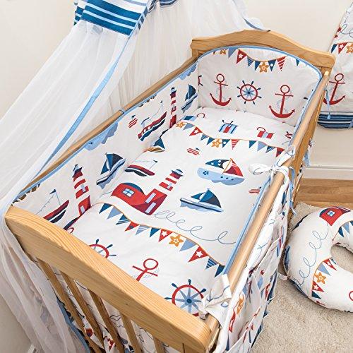 6 Pcs Nursery Baby Cot Bed Bedding Set, All-round Bumper 420cm, 140x70cm - Pattern 16