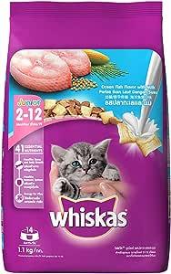 Whiskas Kitten (2-12 months) Dry Cat Food, Ocean Fish, 1.1kg Pack