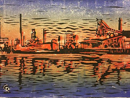 Hütte am Meer - Stahlwerk Bremen - Linolschnitt, von Hand einzeln gedruckt, etwa 20x30cm, Limitiert...