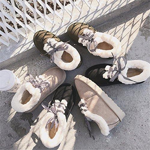 FLYRCX Autunno e Inverno Snow Boots con cinturino incantevole i pattini di scorrimento a caldo cashmere A