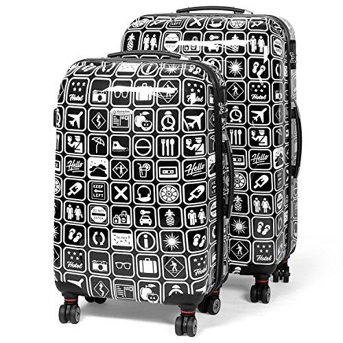 MasterGear Valigia Bagaglio a Mano | Trolley 4 Ruote (360°) | Valigia da Viaggio Rigida con Esterno in ABS e Lucchetto a Combinazione Design Colorato