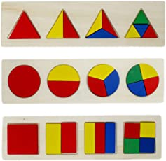 Tootpado 3 in 1 Wooden Educational Shape Color Sorting Puzzles - (1TNG241) - Preschool Stacking Block Toddler Toys