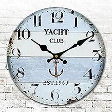 Redondo redondo americano relojes antiguos pared digital clock reloj digital retro living comedor dormitorio reloj diámetro 34/40/50/60 cm,G,16 pulgadas