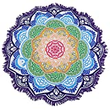 vlovelife 60'redondo de flor de loto al aire libre playa toalla de playa (poliéster, tapiz indio Mandala Roundie Hippie Gypsy Boho manta mantel de toalla para colgar Yoga Mat, poliéster, Morado, 60''