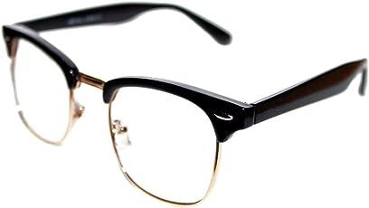 Y&S Sunglasses Eyeglasses Frames For Eye Glasses For Mens Womens Girls Boys (Clear-Clubmaster-Black-Frame-Single)