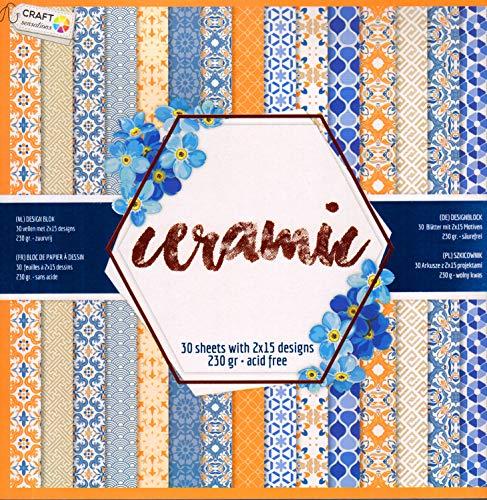 WSD Warenhandel Scrapbooking Papier Vintage Motivblock (Glanz #13 Ceramic) Bastelpapier 230gr/qm - 2 x 15 Motive (1 x glänzend, 1 x matt)