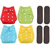 Softlia Baby Free Size Cloth Diapers Reusable Washable Pack of 4 Diapers & 4 Inserts (0-2 Years)