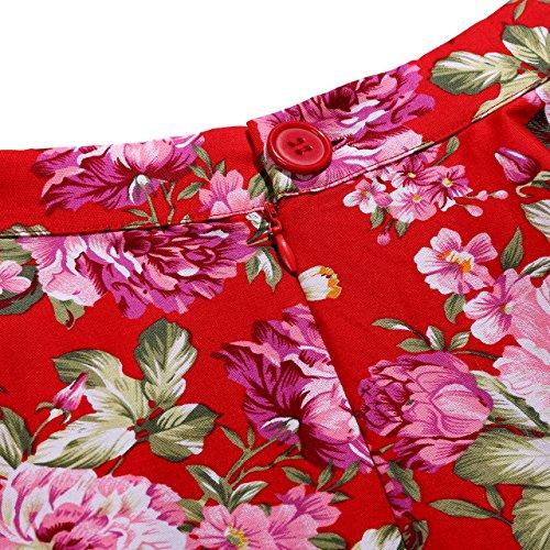 VKStar® Retro 50er Damen Faltenrock Stoffdruck A-linie Röcke Geblümt Rockabilly Röcke Knielang Rot