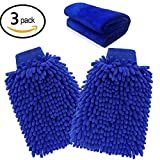 Kit d'Outil de Lavage pour Voiture 2pcs Gant de Lavage 25cm*17cm + 1pcs Chiffon de Nettoyage 70cm*30cm en Microfibre pour Lavage de...