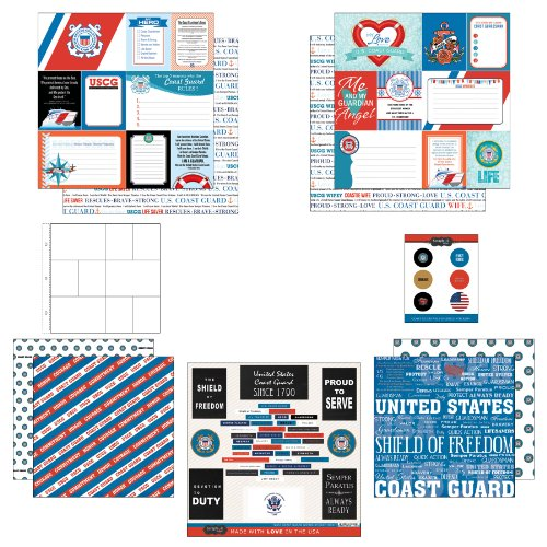 Scrapbook Customs Mottoparty Papier und Aufkleber Scrapbook Kit, Coast Guard Tagebuch (Guard Coast Emblem)